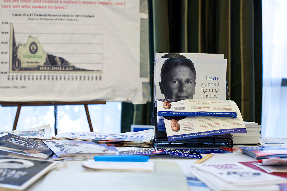 Campaign materials for Libertarian presidential candidate Gary Johnson are on display at the New England College Convention on Friday, January 6, 2012 in Concord, NH.
