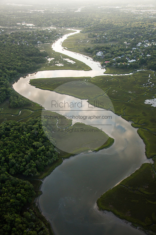 Aerial view of Hobcaw Creek in Mt Pleasant, SC