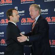 Ross Bjork, left, with Archie Manning, was announced as the new athletic director at the University of Mississippi during a press conference at Vaught-Hemingway Stadium in Oxford, Miss. on Thursday, March 22, 2012.  (AP Photo/Oxford Eagle, Bruce Newman)