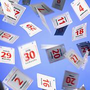 A digital montage of falling calendar dates