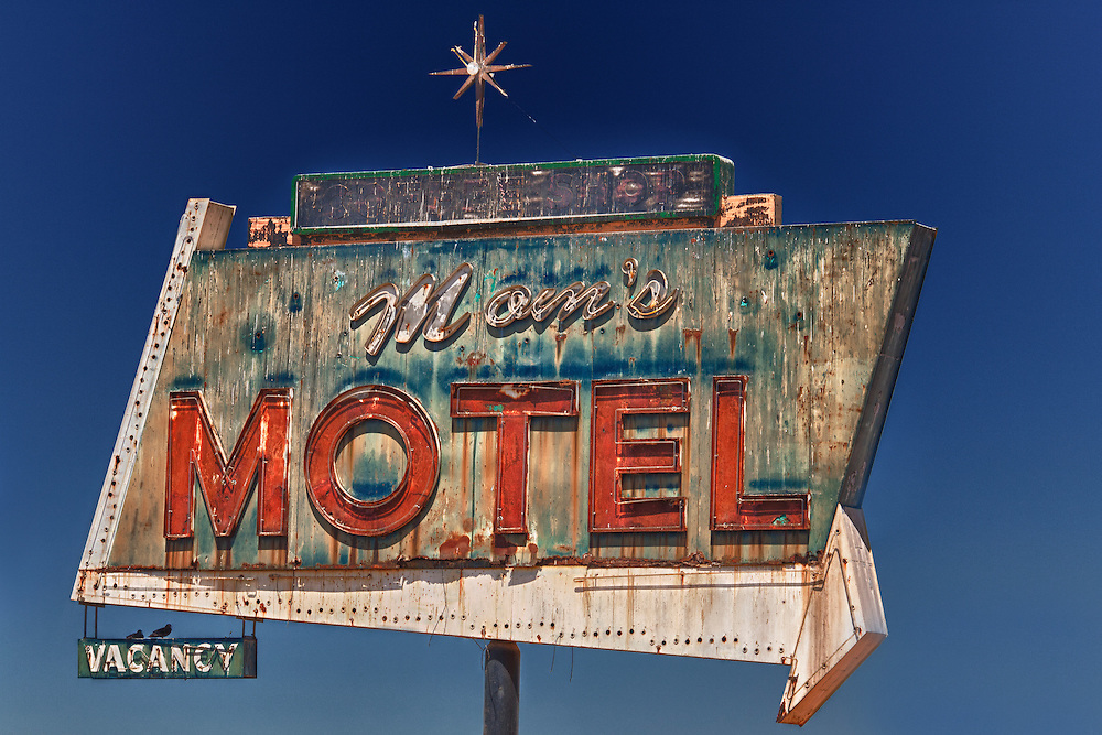 Mom's Motel Sign Northbound View - Tulare, CA - Highway 99 - HDR