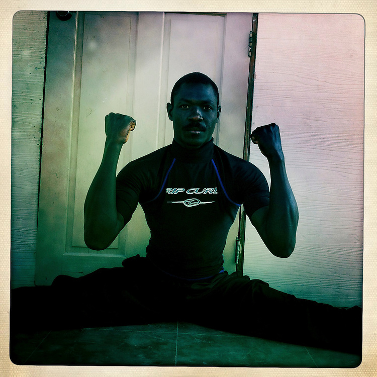 A karate instructor at the Corail camp on Friday, April 6, 2012 in Port-au-Prince, Haiti.