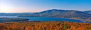 Ashokan Reservoir, Catskill Park, New York, Fall, Panorama clear blue sky