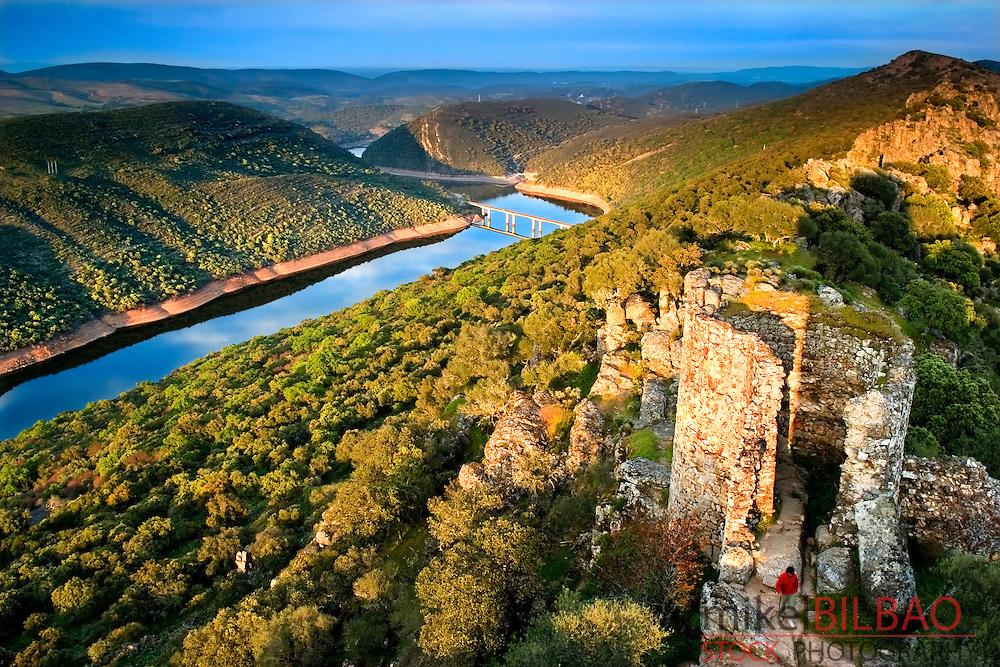 Monfrag&uuml;e Castle, mediterranean forest and Torrejon-Tajo reservoir.<br /> Monfrag&uuml;e National Park and UNESCO Biosphere Reserve. Caceres, Extremadura, Spain.