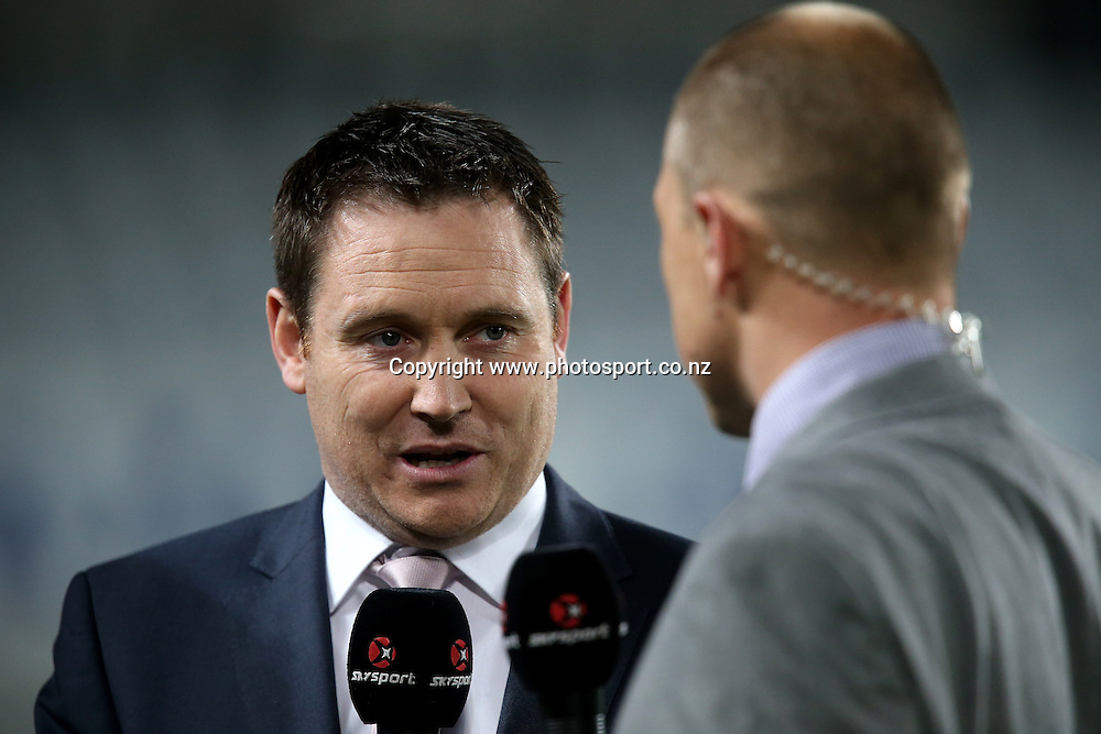 Sky commentator and ex-All Black Andrew Mehrtens before the Super Rugby match between the Blues and Reds at Eden Park, Auckland, New Zealand on Friday 2 May 2014. Photo: Jason Oxenham/Photosport.