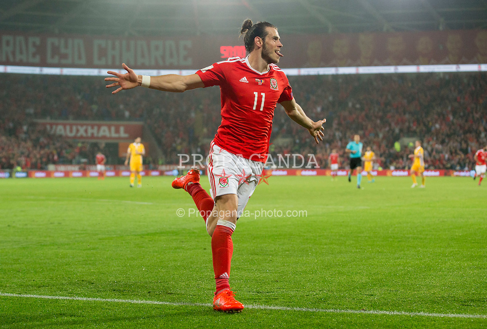 CARDIFF, WALES - Monday, September 5, 2016: Wales' Gareth Bale celebrates scoring the 3rd goal against Moldova during the 2018 FIFA World Cup Qualifying Group D match at the Cardiff City Stadium. (Pic by Paul Currie/Propaganda)
