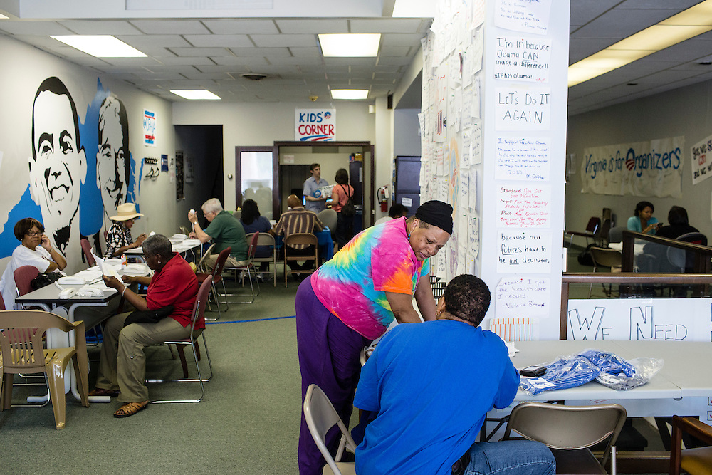 Volunteers with Organizing for America, President Obama's re-election campaign arm, work in the group's Richmond headquarters on Thursday, May 3, 2012 in Richmond, VA.