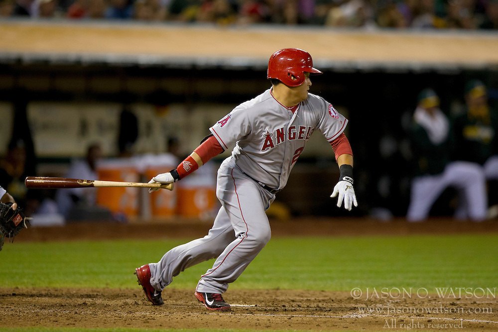 OAKLAND, CA - SEPTEMBER 23:  Hank Conger #24 of the Los Angeles Angels of Anaheim at bat against the Oakland Athletics during the fifth inning at O.co Coliseum on September 23, 2014 in Oakland, California. The Los Angeles Angels of Anaheim defeated the Oakland Athletics 2-0.  (Photo by Jason O. Watson/Getty Images) *** Local Caption *** Hank Conger