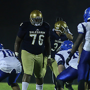 Salesianum defensive linemen Jamal Whittlesey (76) lines up at the line of scrimmage in the second quarter Friday, Oct. 09, 2015 at Bernard Stadium in Wilmington, DE.