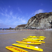 Surf Rescue paddleboards, Trevaunance Cove, St Agnes, Cornwall, UK
