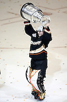 6 June 2007: Goalie Sebastien Caron hoists the Stanley Cup trophy after game 5 of the NHL Stanley Cup playoff championship game where the Anaheim Ducks defeated the Ottawa Senators 6-2 in regulation at the Honda Center in Anaheim, CA.