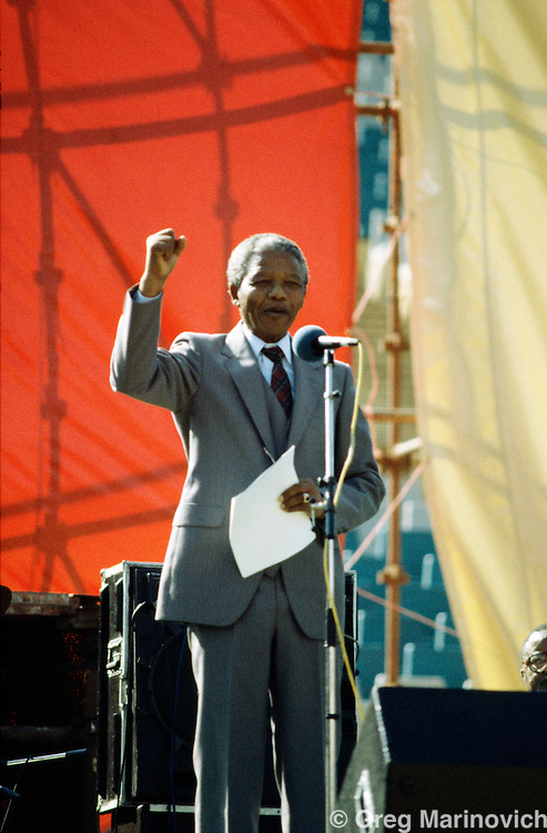 Nelson Mandela addresses the crowd in Soweto, Communist Party holds its first public meeting in South Africa  1990, since they had been banned for decades.