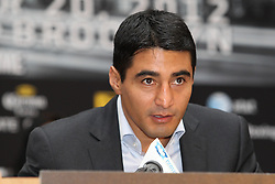 Aug 30, 2012; Brooklyn, NY, USA; Erik Morales speaks at the press conference at New York Marriott at the Brooklyn Bridge. The press conference announced the upcoming October 20th card at the Barclay's Center.