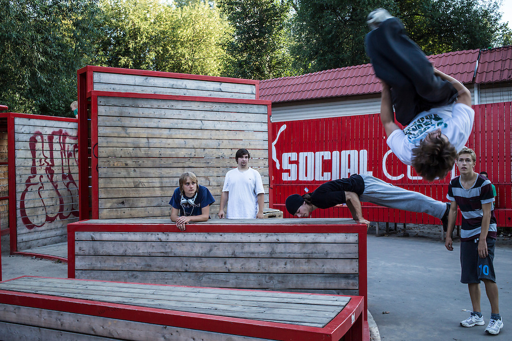 People practice parkour in Gorky Park on Saturday, August 17, 2013 in Moscow, Russia.