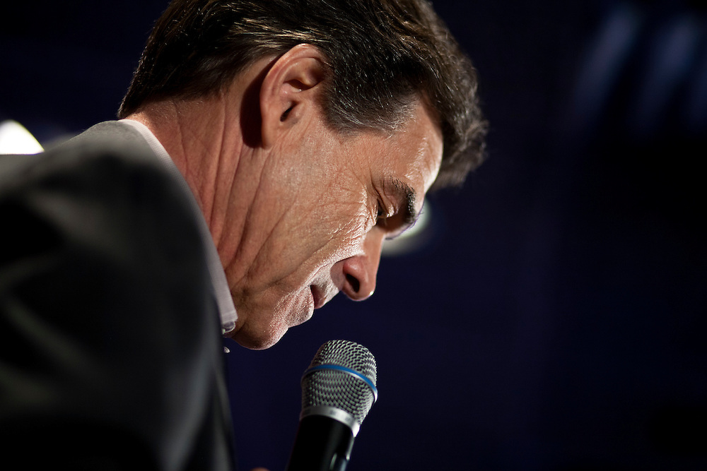 Republican presidential candidate Rick Perry speaks at a campaign event at Doughy Joey's Pizza on Friday, December 30, 2011 in Waterloo, IA.