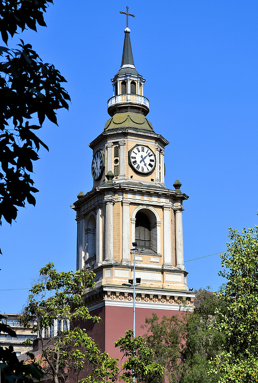 San Francisco Church Bell Tower in Santiago, Chile<br /> When the San Francisco Church was built in 1622 it became Chile&rsquo;s first Catholic church.  It replaced a chapel commissioned in the mid-16th century by Pedro de Valdivia, the Spanish founder of Santiago. This classic bell and clock tower was rebuilt in 1857 after the previous two were destroyed by earthquakes.