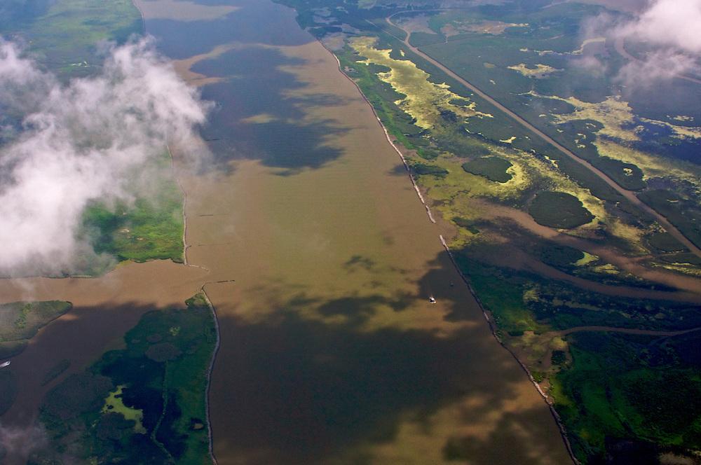Over Southwest Pass, lower Plaquemines Parish, Louisiana, USA