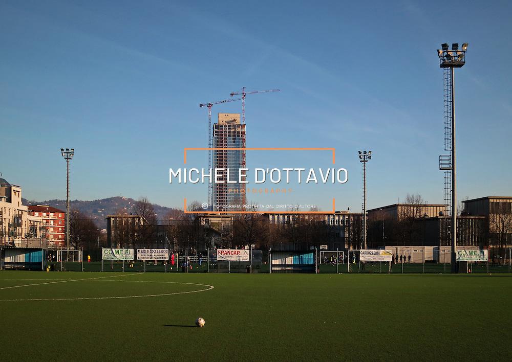 Torre Regione Piemonte, Cantiere della futura sede della Regione Piemonte nel quartiere Lingotto. Torino 6 gennaio 2015