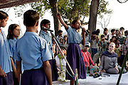 Afternoon preformances by school children at the Purvaiachal dalit Balika school. Four girls sing about Dr Ambika the father of the modern Indian constitution and a hero for dalits all over India.
