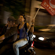 Supporters of Syriza (coalition of radical left) celebrate their victory in having the second largest seats in Parliament, first time on record in Athens, Greece. Image © Angelos Giotopoulos/Falcon Photo Agency