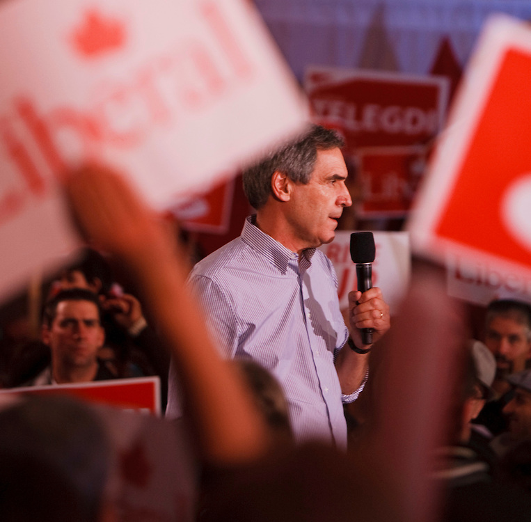 Liberal leader Michael Ignatieff speaks to a large crowd during a campaign rally at Bingemans Park in Kitchener, Ontario Friday April 29, 2011.<br /> REUTERS/Geoff Robins (CANADA)