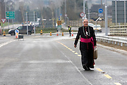 18/12/2007.Bishop Seamus Freeman, Bishop of Ossory pictured arriving on foot to the opening of the new N77 Kilkenny ring road extension which was officially opened by John McGuinness T.D., Minister for Trade and Commerce yesterday..Picture Dylan Vaughan.