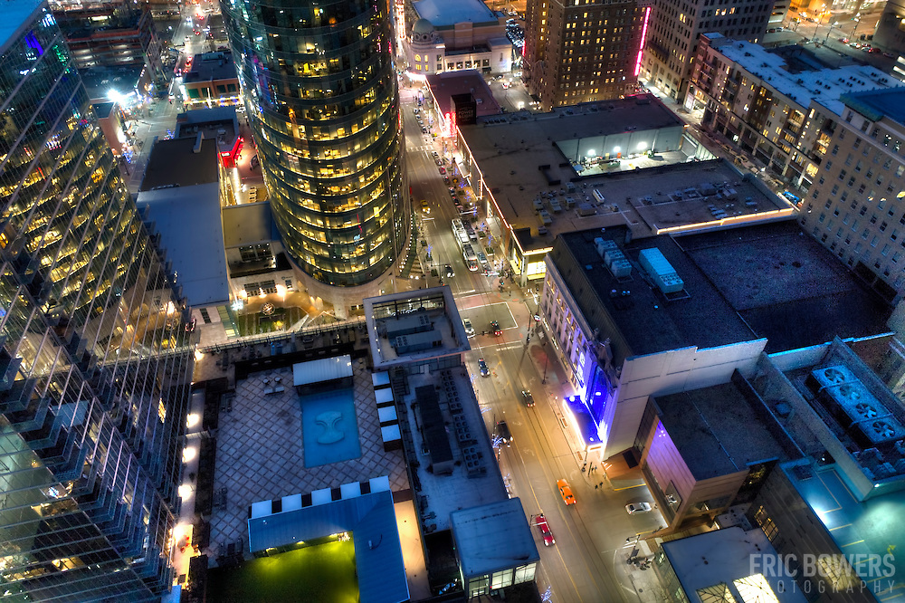 Downtown Kansas City aerial view at dusk from above 12th and Main Streets