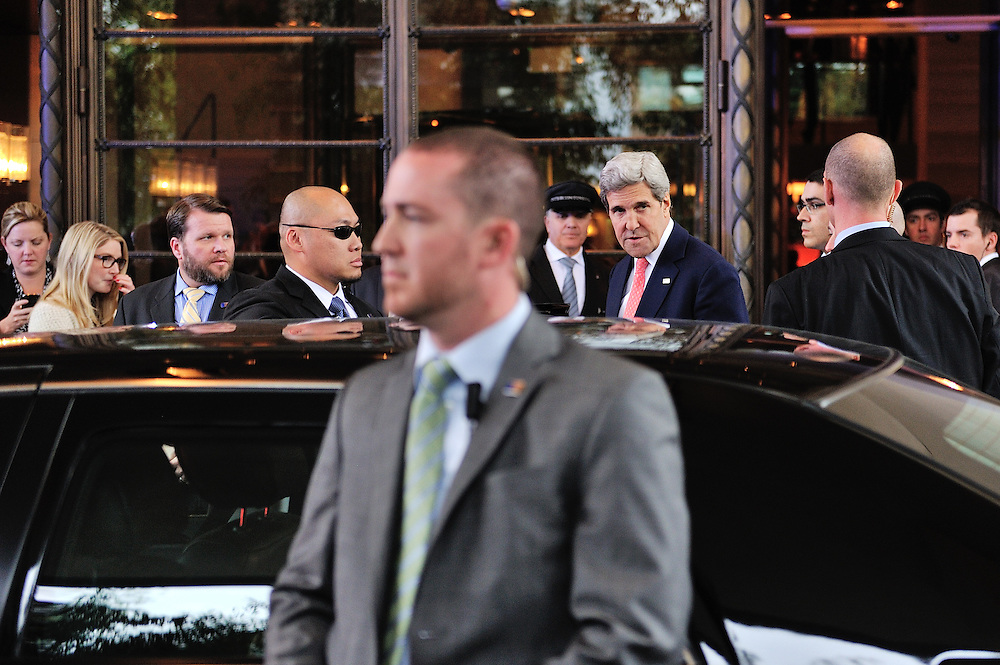 US Secretary of State John Kerry, arriving on an unscheduled visit to Geneva, at the Hotel Intercontinental, surrounded by his body guards and staff, to take part in the a second round of the E3/EU+3 Iran talks in Geneva concerning Iran's nuclear program. Folowing his arrival most discussion took place with the hotel rather than at the UN. E3/EU +3 refers to UK, France and Germany plus U.S., Russia and China.