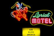 Cowboy Neon Sign, Lariat Motel, Fallon, Nevada, God Bless America