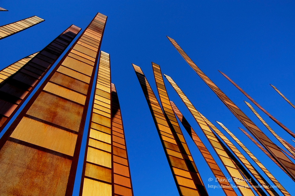 Modern sculpture on the grounds of the Experience Music Project museum, Seattle, Washington