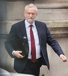 © Licensed to London News Pictures.18/04/2017.London, UK. Labour Party leader Jeremy Corbyn leaves his office in Parliament after Prime Minister Thersea May called a surprise general election for June 8th. Photo credit: Peter Macdiarmid/LNP