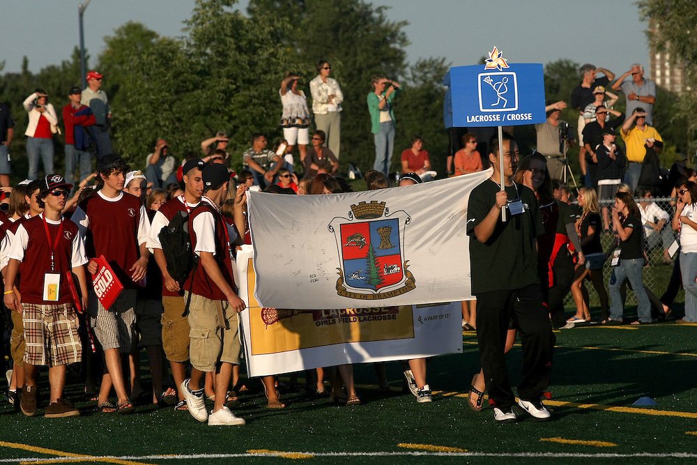 (Ottawa, Ontario---13 August 2008) Athletes enter Keith Harris Stadium at the beginning of the  opening ceremonies of the 2008 Ontario Summer Games in Ottawa. Photo copyright Sean Burges/Mundo Sport Images. More details can be found at www.msievents.com.