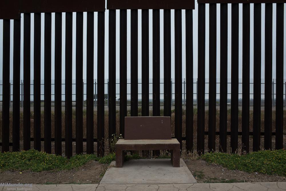 Latin America's last bench. Mexico-US border. Tijuana, Baja California, Mexico. May 30, 2015.
