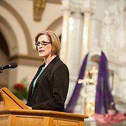 Professor Lin Murphy, then-Department Chair, addresses new BSN-prepared nurses in 2011. (Photo by Gonzaga University)