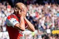 ROTTERDAM - Feyenoord - SC Heerenveen , Stadiond de Kuip , Voetbal , Eredivisie Play-offs Europees voetbal, seizoen 2014/2105 , 24-05-2015 , Feyenoord speler Karim El Ahmadi baalt van afgekeurde goal