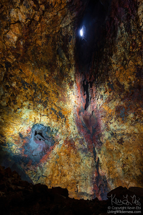 The Icelandic mountain Thrihnukagigur last erupted more than 4,000 years ago. Shown here is the inside of the volcano's magma chamber, the space inside the mountain which housed molten rock from deep inside the earth. Thrihnukagigur means Three Peaks Crater. The cone leading to one of the peaks is shown near the top center.