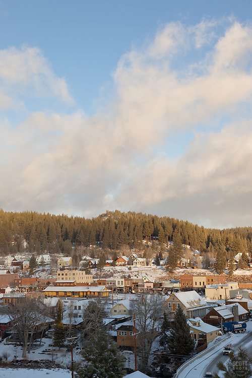 """""""Downtown Truckee 6"""" - This photograph of a lightly snow covered Truckee, California was photographed in the early morning."""