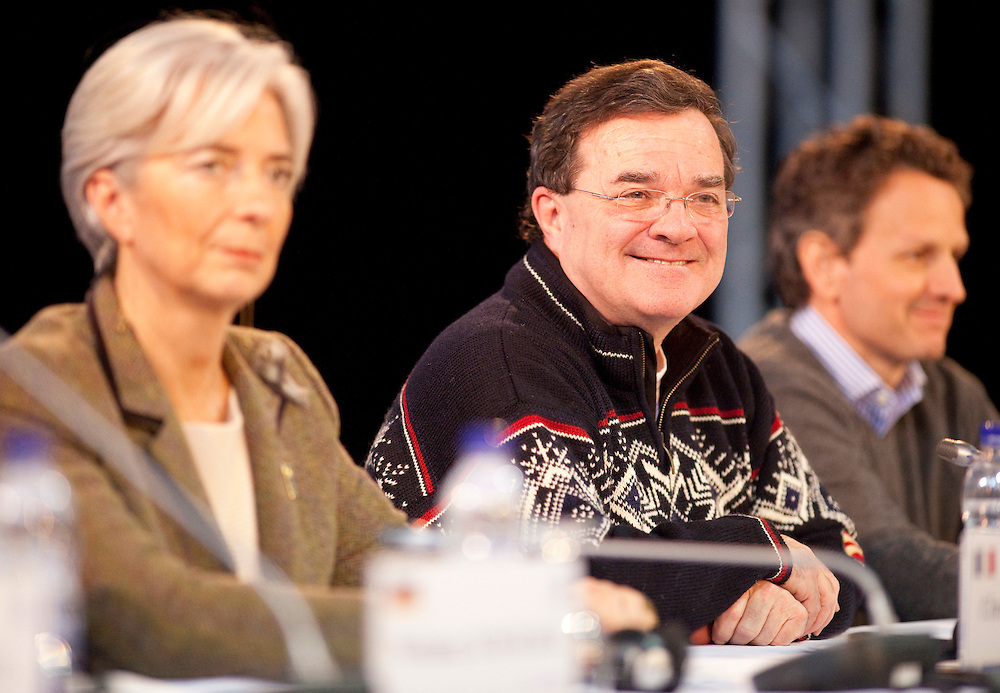 Canada's Minister of Finance, Jim Flaherty smiles as he listens to a question at the final press conference for the G7 Finance Ministers Meeting in Iqaluit, Canada, February 6, 2010.<br /> AFP/GEOFF ROBINS/STR