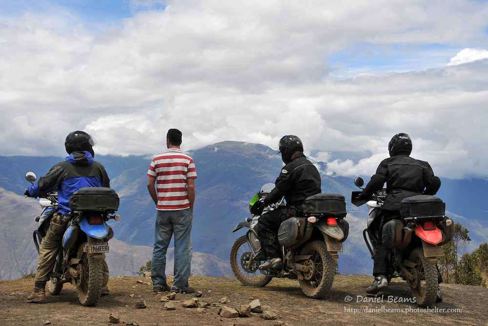 Motorcycle trip break near Quiabaya, Bolivia