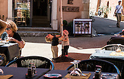 The  scene I observed from my restaurant table in the old village of Roussilon, France.