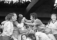 All Ireland Senior Football final 1976. Jubilation among the Dublin players after winning the Sam Maguire Cup. From left; Paddy Reilly, Jimmy Keaveny, Bobby Doyle, George Wilson and Kevin Moran. <br /> <br /> <br /> (Part of the Independent Newspaper Ireland/NLI collection.)