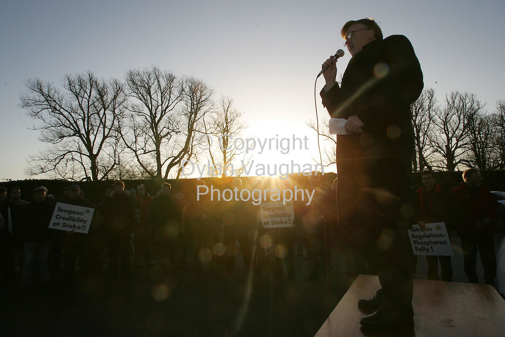 11/1/2006.President  of the IFA John Dillion pictured  speaking at the IFA  demonstration outside the Teagasc Board Meeting at Mount Juliet Conrad in Thomastown in County Kilkenny yesterday.The protest is being held over the Nitrates Directive..Picture Dylan Vaughan.