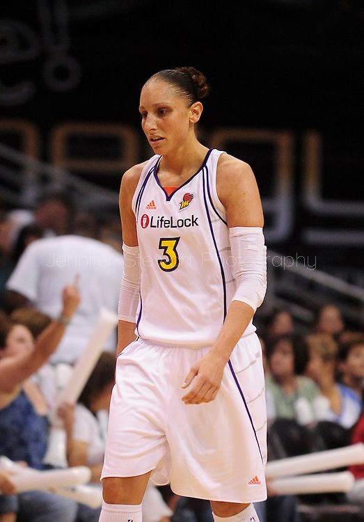 Sep 5, 2010; Phoenix, AZ, USA; Phoenix Mercury guard Diana Taurasi (2) reacts on the court against the Seattle Storm during the first half in game two of the western conference finals in the 2010 WNBA Playoffs at US Airways Center.  The Storm defeated the Mercury 91-88.  Mandatory Credit: Jennifer Stewart-US PRESSWIRE