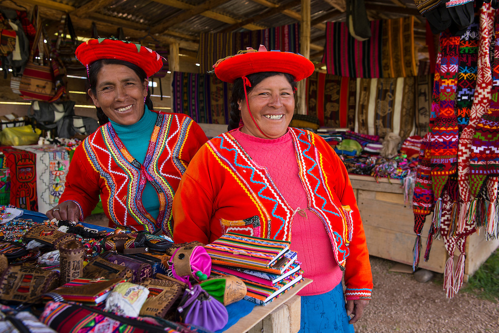 South America, Peru, Cuzco, Inca archaeological site, Moray two local women selling products