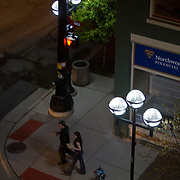 LED streetlights made by Relume Technologies, Inc., illuminate the intersection of E. Washington St. and S. 4th Ave. in Ann Arbor, MI, Thursday, May 7, 2009. Ann Arbor has installed LED streetlights to reduce lighting costs and greenhouse gas emissions.