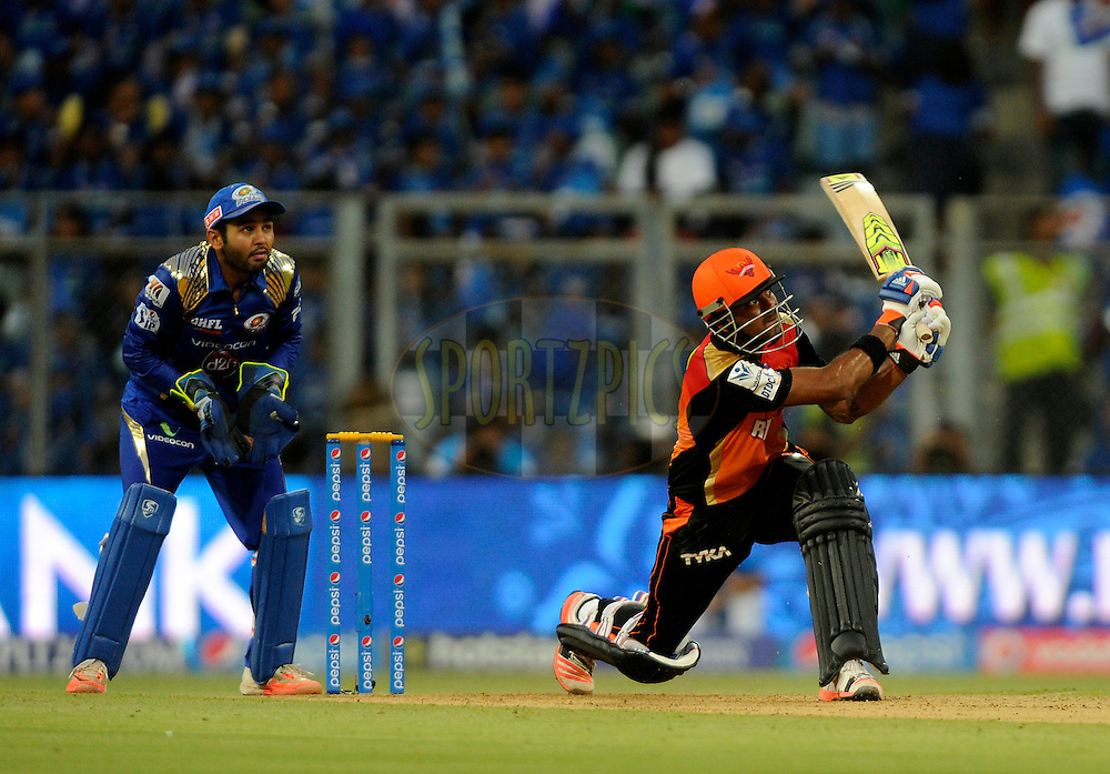 KL Rahul of Sunrisers Hyderabad bats during match 23 of the Pepsi IPL 2015 (Indian Premier League) between The Mumbai Indians and The Sunrisers Hyferabad held at the Wankhede Stadium in Mumbai India on the 25th April 2015.<br /> <br /> Photo by:  Pal Pillai / SPORTZPICS / IPL