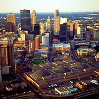 Aerial Photograph of the Minneapolis Skyline with Mississippi river