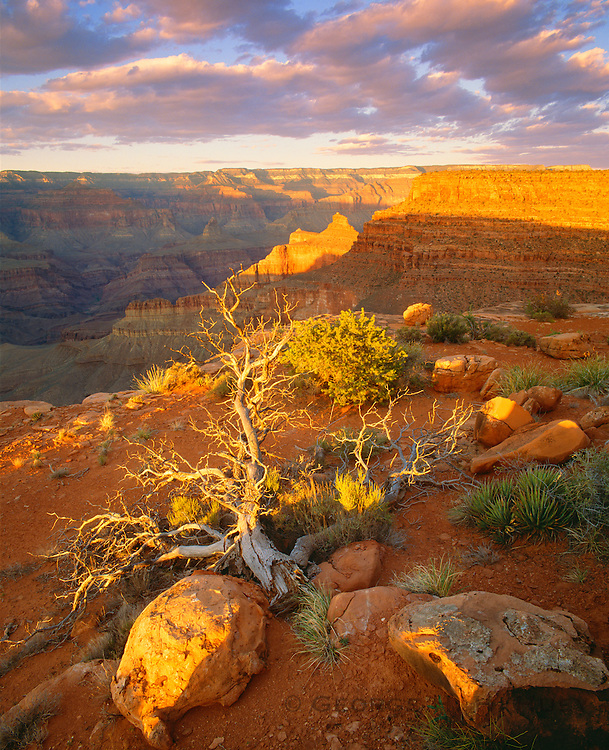 0107-1039 ~ Copyright: George H.H. Huey ~ Grand Canyon at sunset from below the South Rim.  Oneil Butte and the North Rim in distance.  Grand Canyon Natonal Park, Arizona
