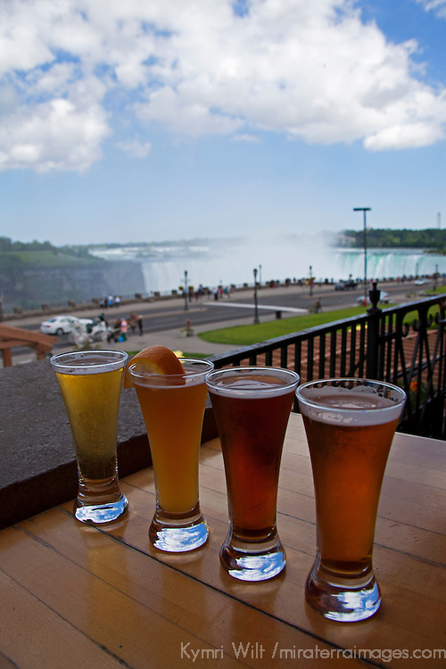 Canada, Ontario, Niagara Falls. Flight of micro-brews at Edgewaters Restaurant overlooking Niagara Falls.