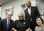29 October 2010- Harlem, New York- l to r: Paul LeClerc, President, New York Public Library, Dr. Maya Angelou, Howard Dodson, Chief, The Schomburg Center, and Ann Thornton, Director for Reference and Research Services, NYPL backstage at The Acquisition of the Maya Angelou Collection of Personal Papers and Materials Documenting 40 years of the Writer's Literary Career held at the Schomburg Center on October 29, 2010 in Harlem, USA. Photo Credit: Terrence Jennings